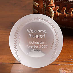 Welcome Slugger! Engraved Glass Baseball