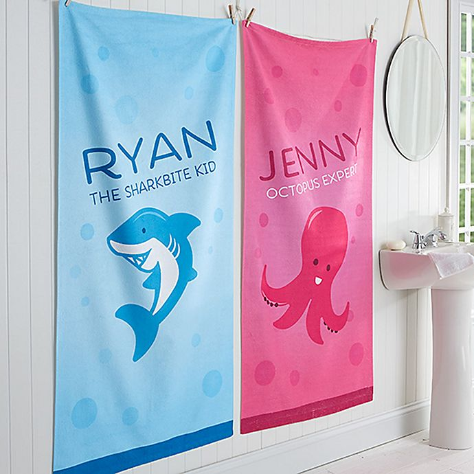 Alternate image 1 for Sea Creatures Personalized Bath Towel