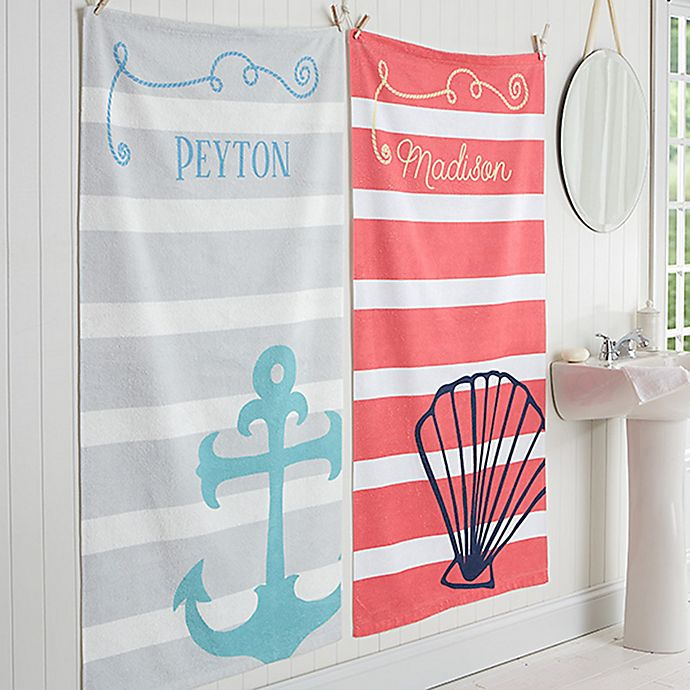 Alternate image 1 for Nautical Personalized Bath Towel
