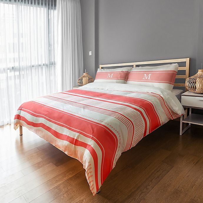 Alternate image 1 for Designs Direct Dots and Stripes Queen Duvet Cover in Red