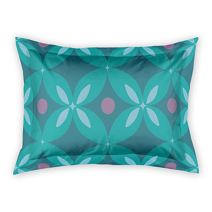 Alternate image 1 for Designs Direct Abstract Quatrefoil King Pillow Sham in Teal