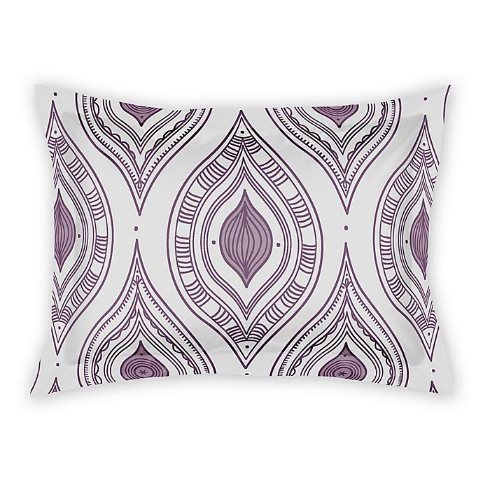 Alternate image 1 for Designs Direct Boho Diamonds King Pillow Sham in Purple