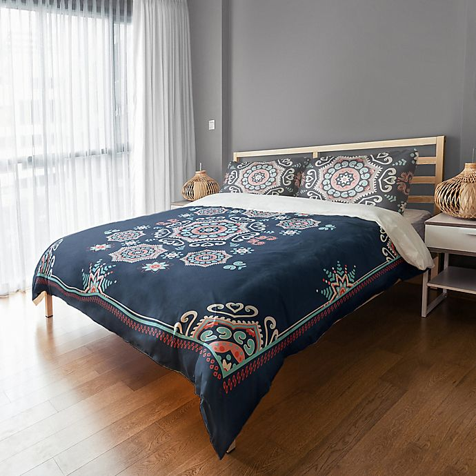 Alternate image 1 for Designs Direct Mandala Twin Duvet Cover in Blue