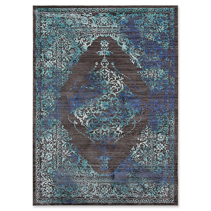 Alternate image 1 for Momeni Cypress Floral Geometric 9' x 12' Area Rug in Charcoal