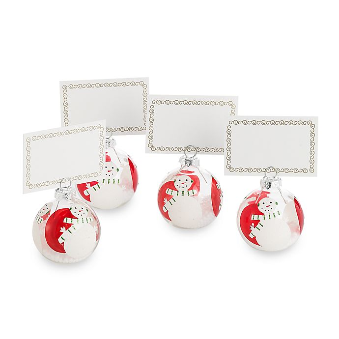 Snowman Ornament Place Card Holders Set Of 4