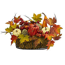 Nearly Natural 9-Inch Berry and Maple Leaf Artificial Arrangement