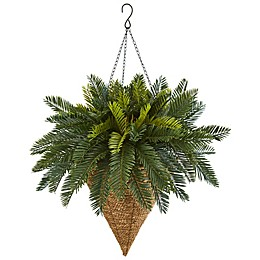 Nearly Natural Artifical Hanging Cycas Plant in Woven Grass Basket