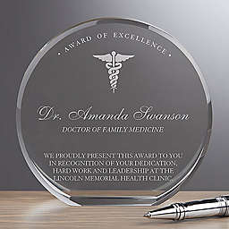 Medical Profession Round Crystal Award