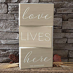 Love Lives Here Rectangle Shelf Blocks (Set of 3)