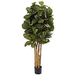 Nearly Natural 5-Foot Artifical Fiddle Leaf Fig Tree in Black Pot