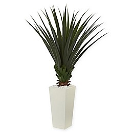 Nearly Natural Spiky Agave Artificial Plant in White Vase