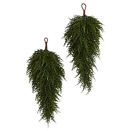 Nearly Natural 26-Inch Cedar Artificial Teardrop Plant (Set of 2)