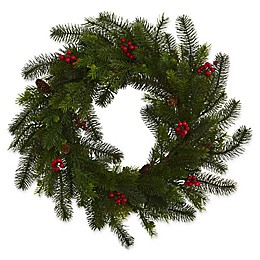Nearly Natural 5-Inch Pine and Berry Wreath in Green