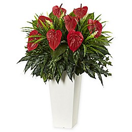 Nearly Natural Mixed Anthurium Artificial Plant with White Vase