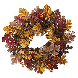 Nearly Natural 24-Inch Oak Leaf/Acorn/Pine Wreath in Orange