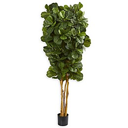 Nearly Natural 7-Foot Artifical Fiddle Leaf Fig Tree in Black Pot