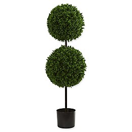 Nearly Natural 14-Inch Boxwood Double Ball Artificial Topiary Tree in Green