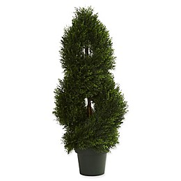 Nearly Natural 12-Inch Pond Cypress Spiral Topiary in Green