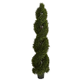 Nearly Natural 16-Inch Pond Cypress Spiral Topiary in Green