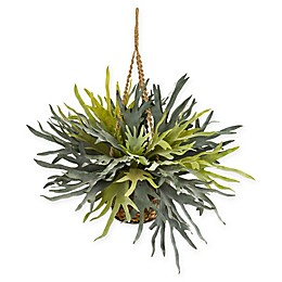 Nearly Natural Staghorn Artificial Plant with Hanging Basket