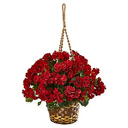Nearly Natural 24-Inch Geranium Artificial Plant with Hanging Basket