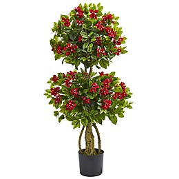 Nearly Natural 22-Inch Double Bougainville Artificial Topiary Tree in Red