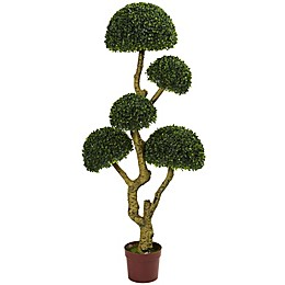 Nearly Nature 5-Foot Five Head Boxwood Artificial Tree with Brown Planter