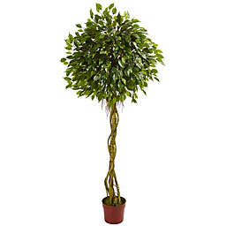 Nearly Natural 6-Foot Ficus Artificial Topiary Tree with Brown Planter