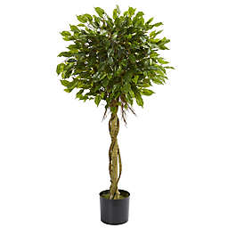Nearly Natural 4-Foot Ficus Artificial Topiary Tree with Black Planter