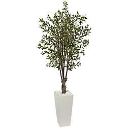 Nearly Natural 6-Foot Olive Topiary with Tower Planter in White