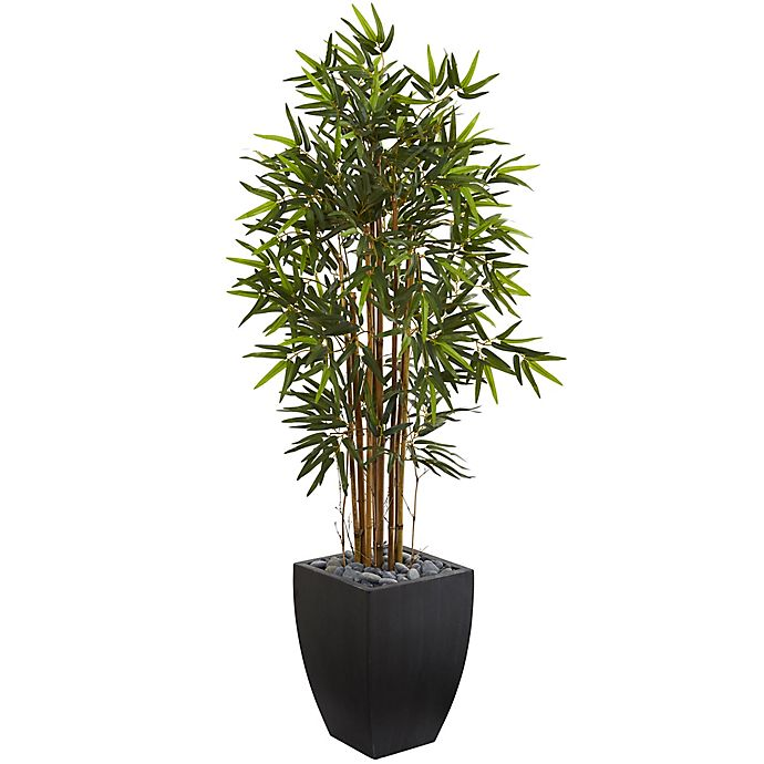 Alternate image 1 for Nearly Natural 5-Foot Bamboo Tree with Wash Planter in Black