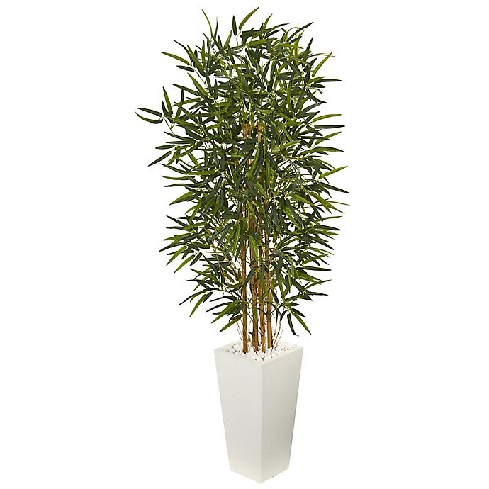 Alternate image 1 for Nearly Natural 5-Foot Bamboo Tree with Tower Planter in White