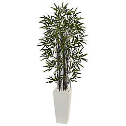 Nearly Natural 5.5-Foot Black Bamboo Tree with White Tower Planter