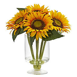 Nearly Natural Sunflower Artificial Arrangement with Clear Acrylic Vase
