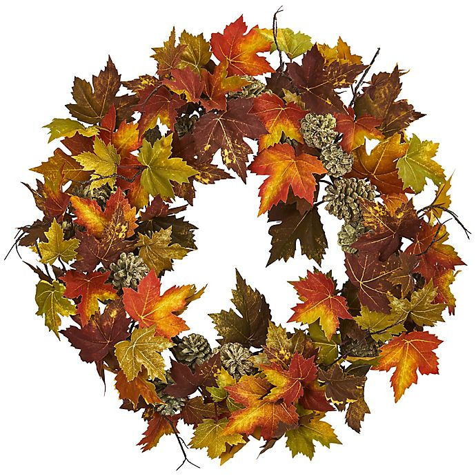 Alternate image 1 for Nearly Natural 24-Inch Maple Pine Cone Wreath