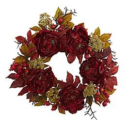 Nearly Natural 24-Inch Peony Sedum Wreath