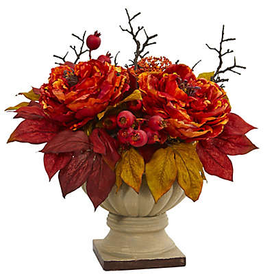 Nearly Natural 15-Inch Peony and Sedum Artificial Arrangement