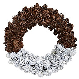 Nearly Natural 20-Inch Pine Cone Wreath
