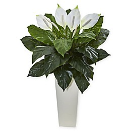 Nearly Natural 3-Foot Spathiphyllum Plant in White Tower Vase