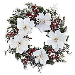 Nearly Natural 22-Inch Magnolia and Berry Wreath