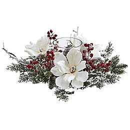 Nearly Natural 17-Inch Magnolia & Berry Artificial Arrangement