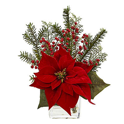 Nearly Natural 14-Inch Poinsettia Artificial Arrangement in Red