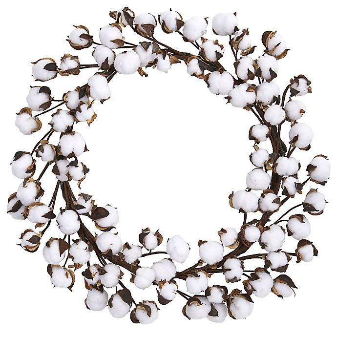 Alternate image 1 for Nearly Natural 20-Inch Cotton Ball Wreath