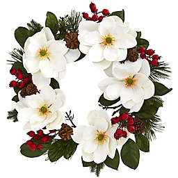 Nearly Natural 26-Inch Magnolia/Pine/Berries Wreath in White