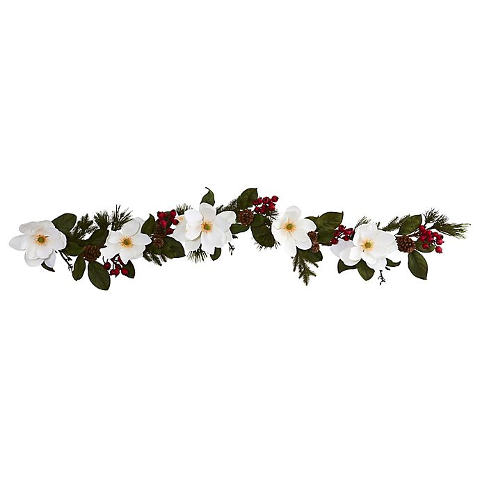Alternate image 1 for Nearly Natural 9-Inch Magnolia/Pine/Berries Artificial Garland in White