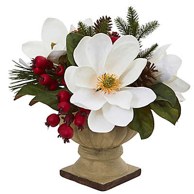 Nearly Natural 15-Inch Magnolia/Pine/Berries Artificial Arrangement in White