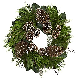 Nearly Natural 28-Inch Pine Cone Wreath in Green