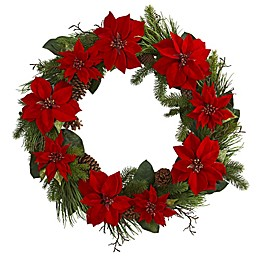 Nearly Natural 36-Inch Poinsetta and Pine Wreath in Red