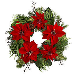 Nearly Natural 28-Inch Poinsettia and Pine Wreath in Red