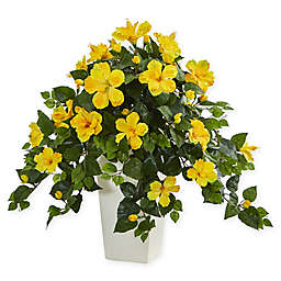 Nearly Natural 27-Inch Yellow Hibiscus Plant in White Tower Vase